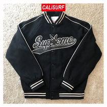 FW17 Supreme(シュプリーム)Playboy wool varsity jkt/BLACK/M