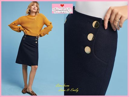 18AW☆最安値保証*関送料込【Anthro】Gold-Buttoned Wool Skirt
