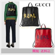 GUCCIグッチ Gucci Ghostドローストリングバックパック 関・送込