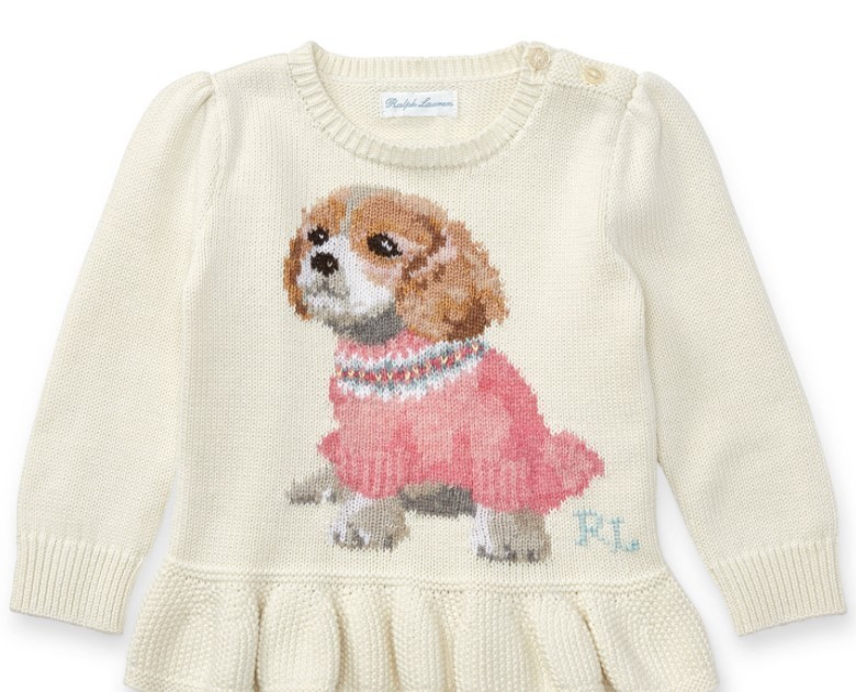 新作♪ 国内発送 PUPPY PEPLUM COTTON SWEATER girls 0~24M