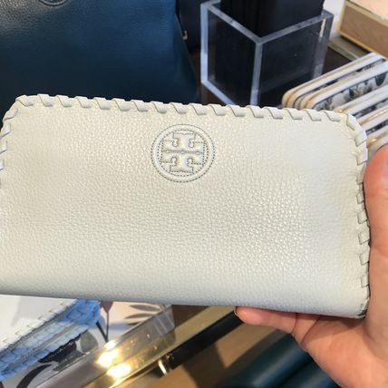 Tory Burch柔らかレザー★MARION ZIP CONTINENTAL WALLET ブルー
