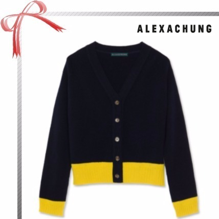 ALEXACHUNG★COLOUR BLOCK カーディガン★Black/Yellow
