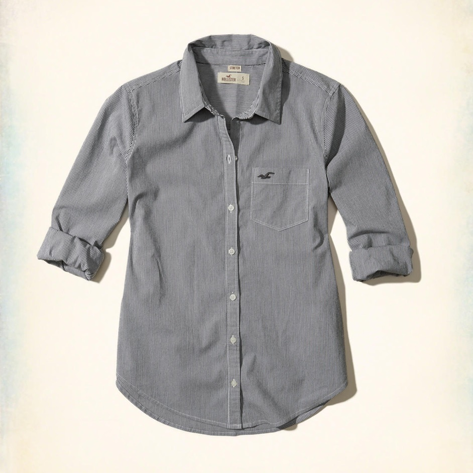 ★新作★送料込★Hollister★Button-Front Woven Shirt★