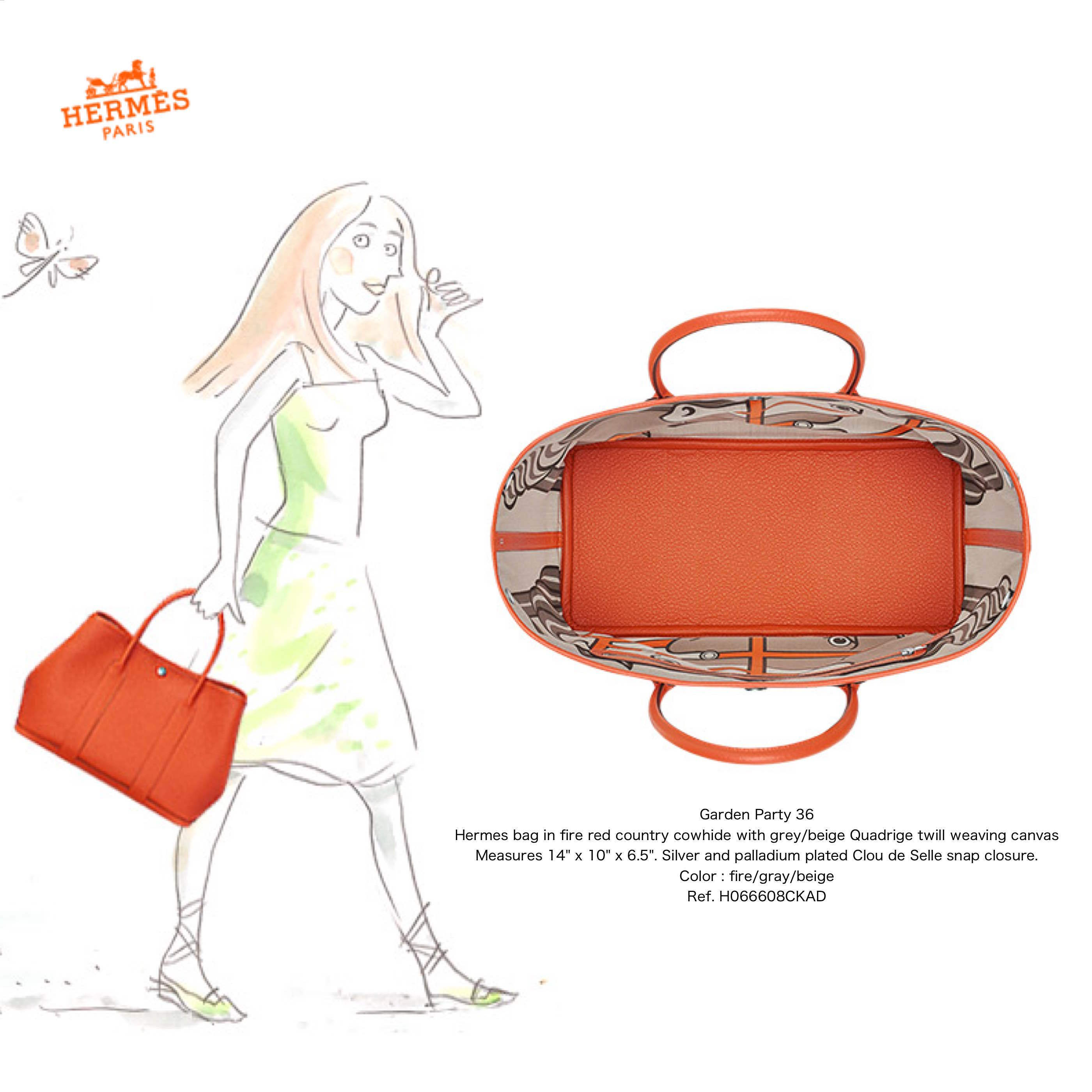 *HERMES*Garden Party 36/fire/gray/beige
