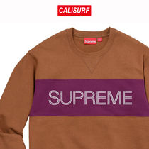 Supreme(シュプリーム)ZIGZAG STITCHIPANEL CREWNECK/BROWN/M-XL