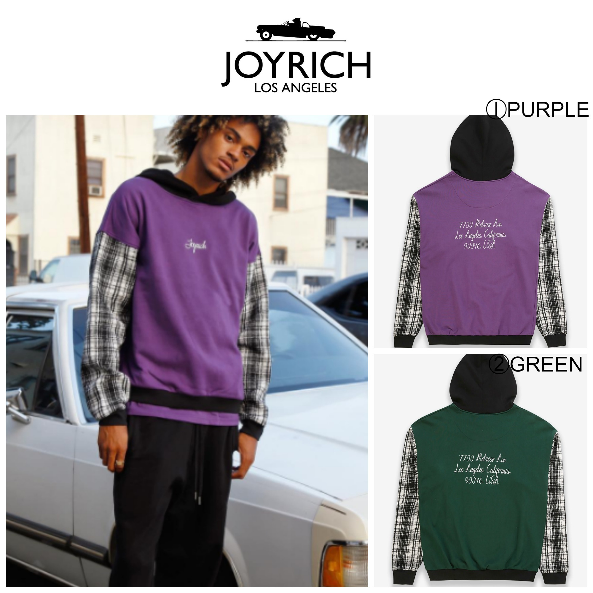 【JOYRICH】☆17AW新作☆Sweat & Check Light Melton Mix Hoodie