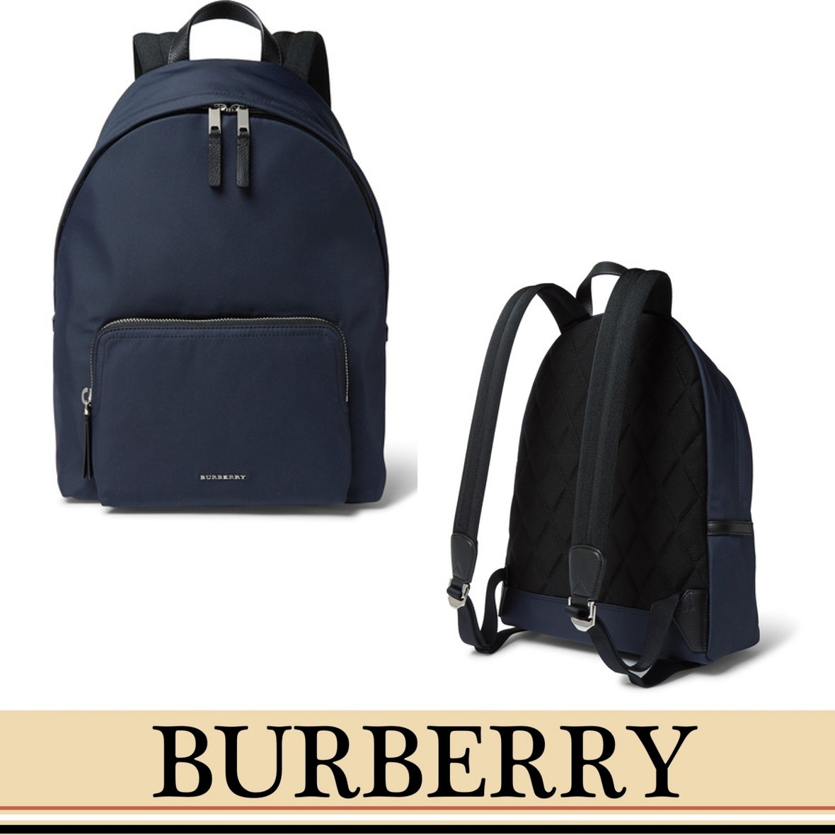 BURBERRY レザーナイロン バックパック
