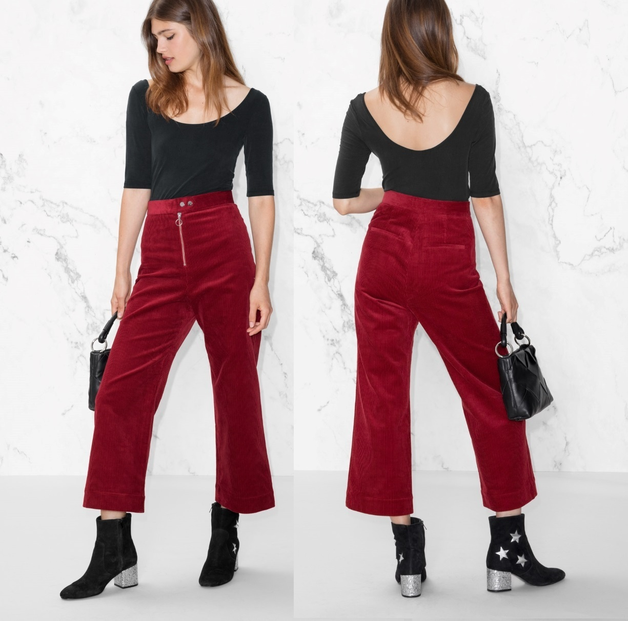 """""""& Other Stories""""Zip Corduroy Trousers Red"""
