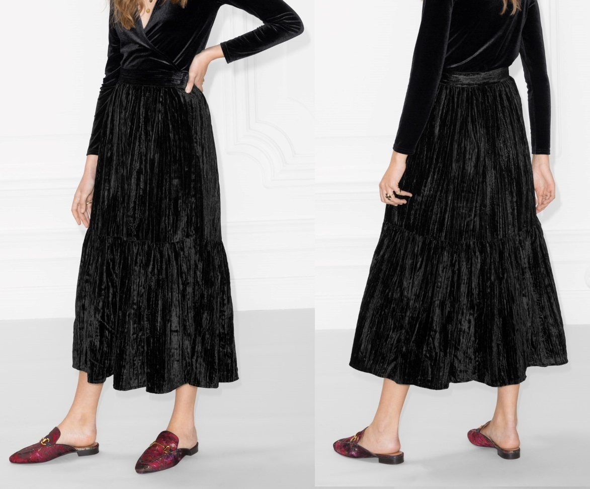 """& Other Stories""Crushed Velvet Skirt Black"