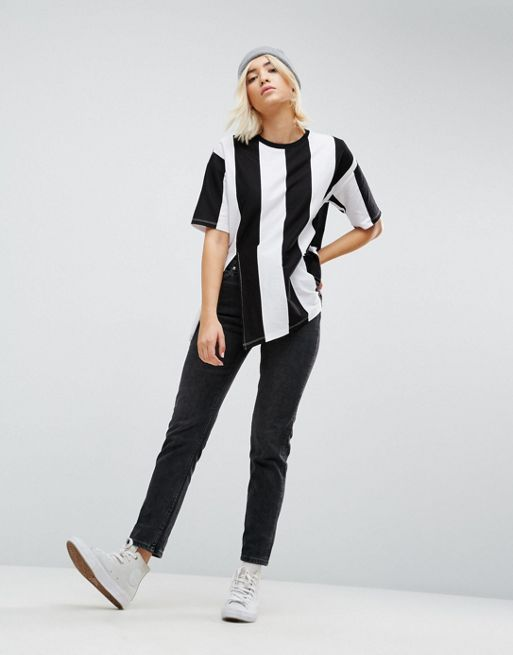 日本未入荷 ASOS T-Shirt in Oversized Vertical Stripe Tシャツ