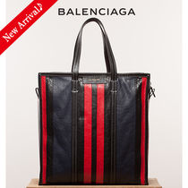 VIPセール♪BALENCIAGA Bazar Shopper M,Stripe Blue/Black/Red