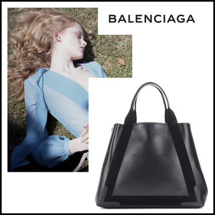 BALENCIAGA バレンシアガ Navy Cabas M leather tote