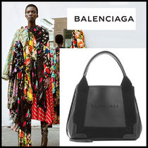 BALENCIAGA バレンシアガ Navy Cabas XS leather shoulder bag