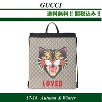 2017AW関税込★GUCCI(グッチ) Angry Cat GG Supreme backpack