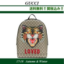17AW関税込★GUCCI(グッチ)Angry Cat printed canvas backpack