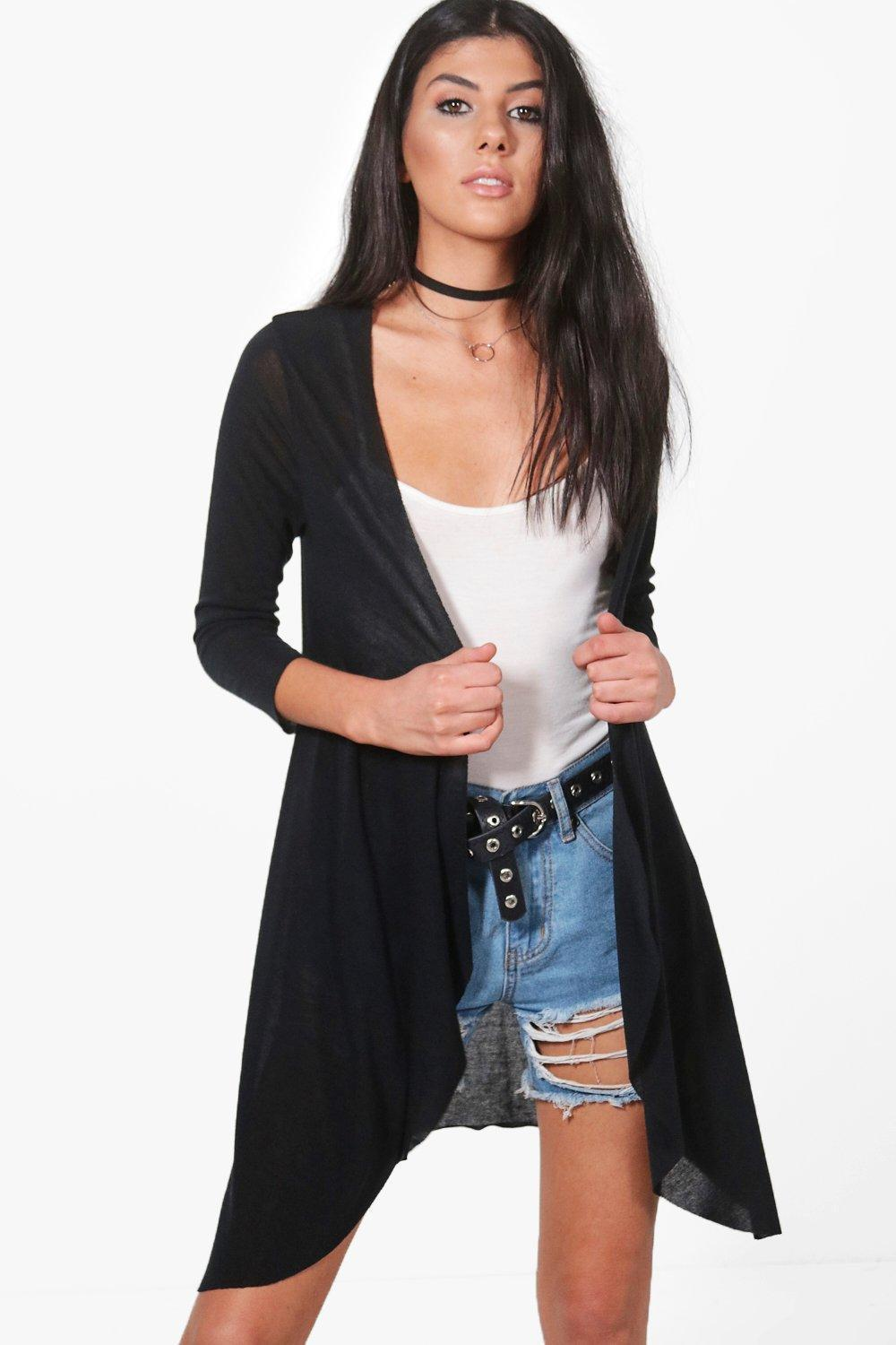 boohoo! Violet 3/4 Sleeve Raw Edge Cardigan カーディガン