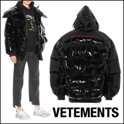 ローラ愛用Brand★VETEMENTS★Patent-Finish Puffer Jacket