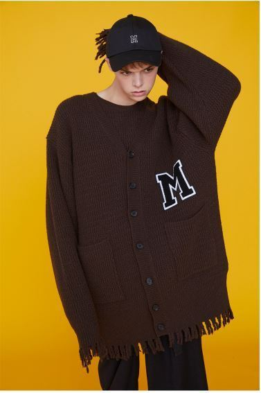 日本未入荷MSKN2NDのM PATCH RAW EDGE KNITTED CARDIGAN 全4色