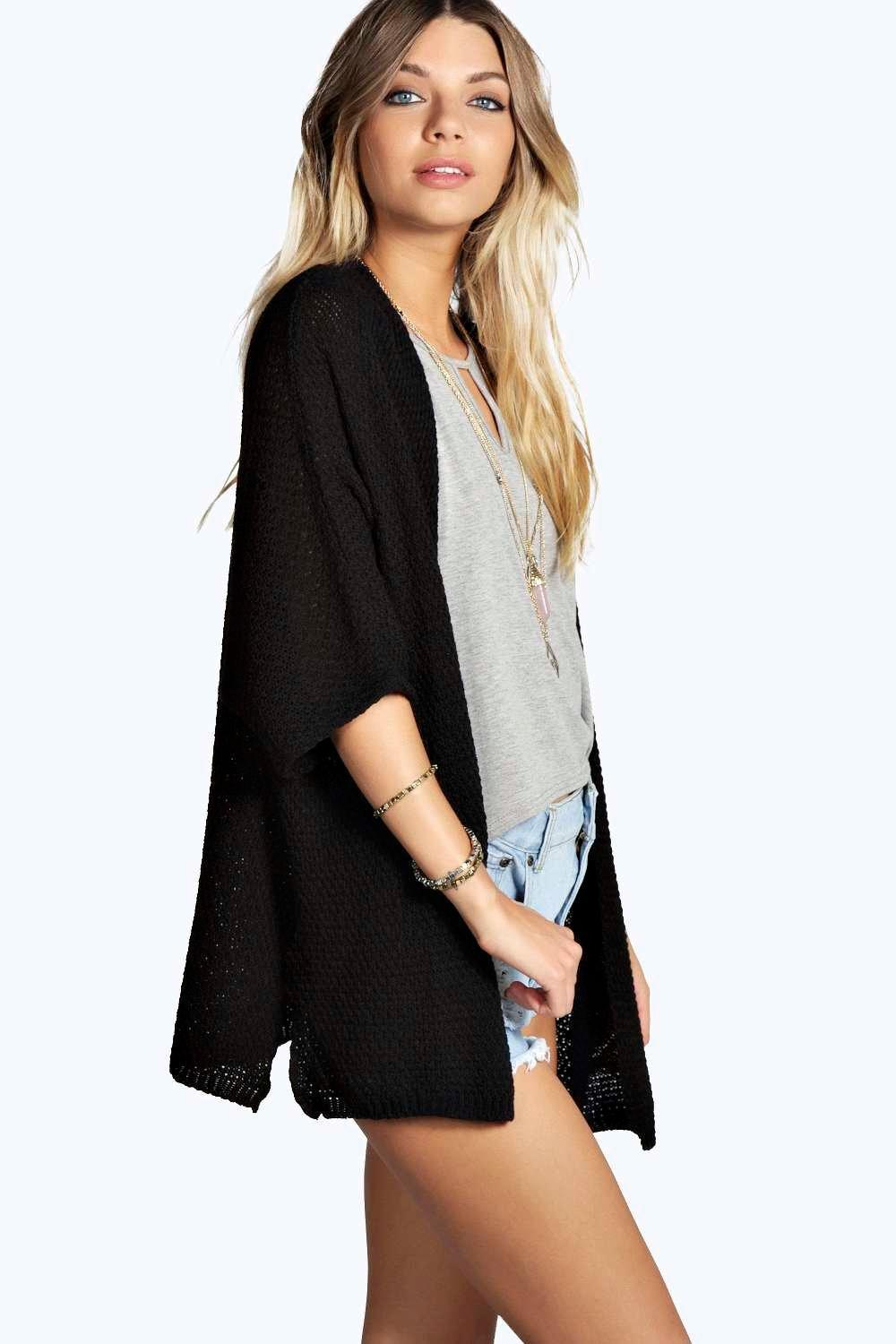 boohoo! Ruby Side Split Loose Knit Batwing Card カーディガン