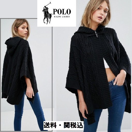 Polo Ralph Lauren Cable ニットケープ Withレザーバックル