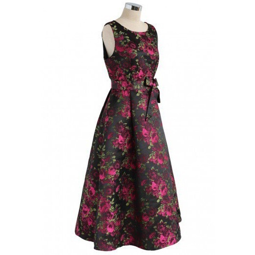 国発/送関込☆Chicwish☆Engulfed in Roses Jacquard Prom Dress
