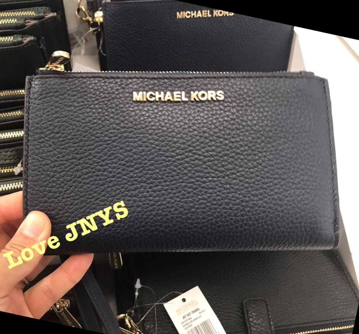 3-5日着可☆Michael Kors★JET SET TRAVEL DOUBLE ZIP WRISTLET