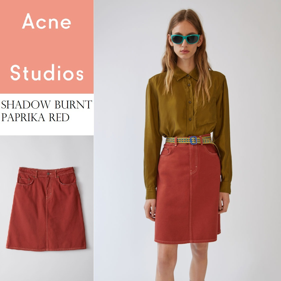 ACNE Shadow B paprika red Aラインソフトデニムスカート