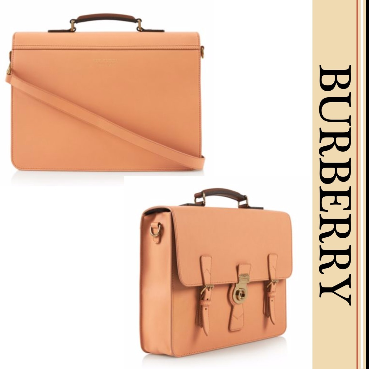 BURBERRY レザー ブリーフケース Pale Cleme