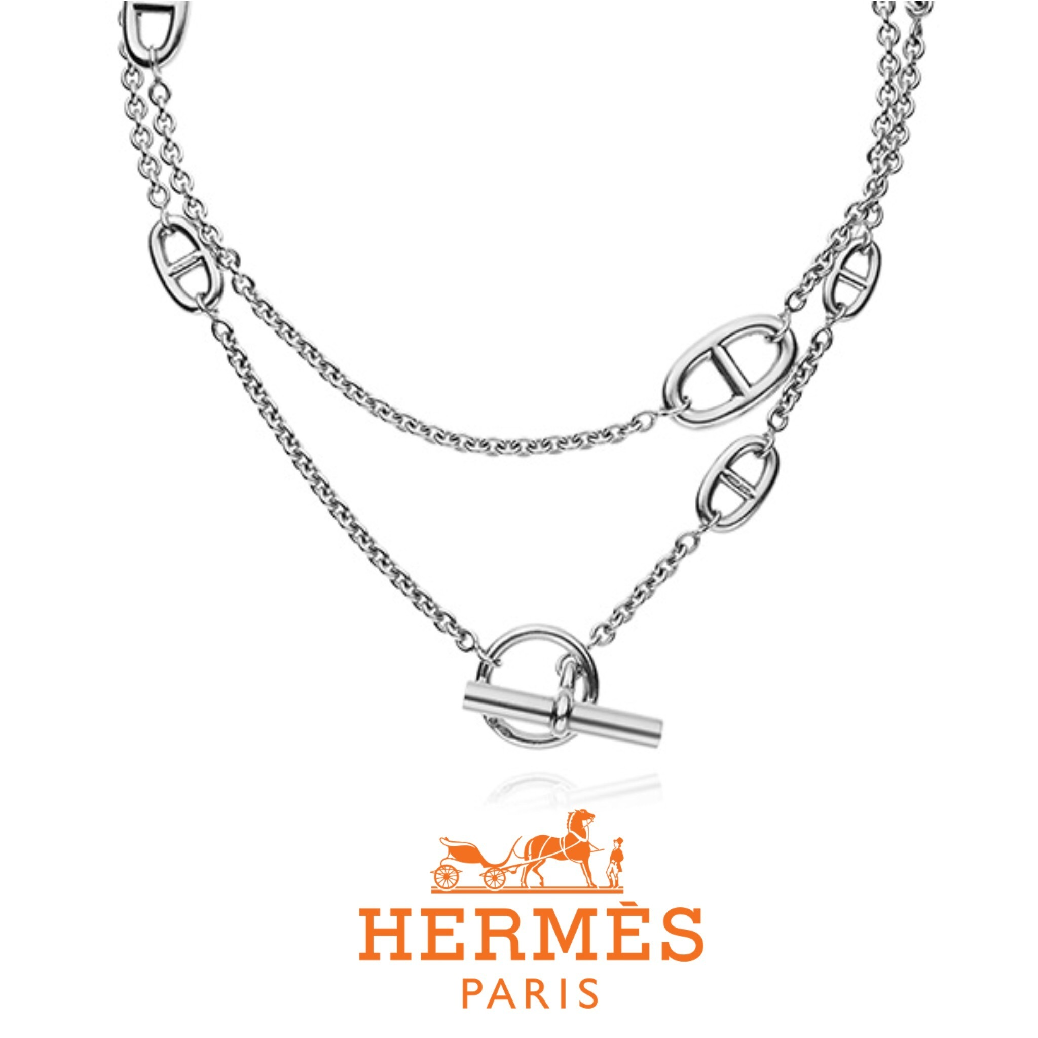 送料関税込☆HERMES Farandole Necklace in silver (80 cm)