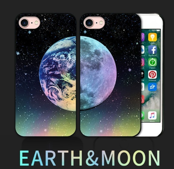 iPhone 8 / 7ケース Dparks Twinkle Case Earth&Moon