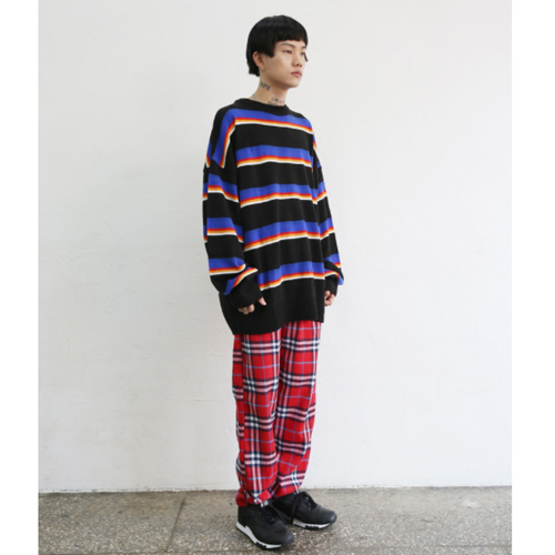 ★NEWPICKLE★日本未入荷[UNISEX] COLOUR STRIPED SWEATER(BK)