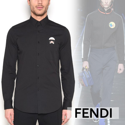 【FENDI】KARLITO PATCH MANDARIN COLLAR SHIRT