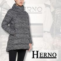 【HERNO】BOUCLE LONG PADDED JACKET , GOOSE FEATHERS LINED