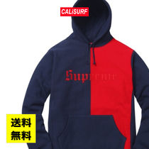WEEK6 Supreme SPLIT OLD ENGLISH HOODED SWEATSHIRT/red/M-XL