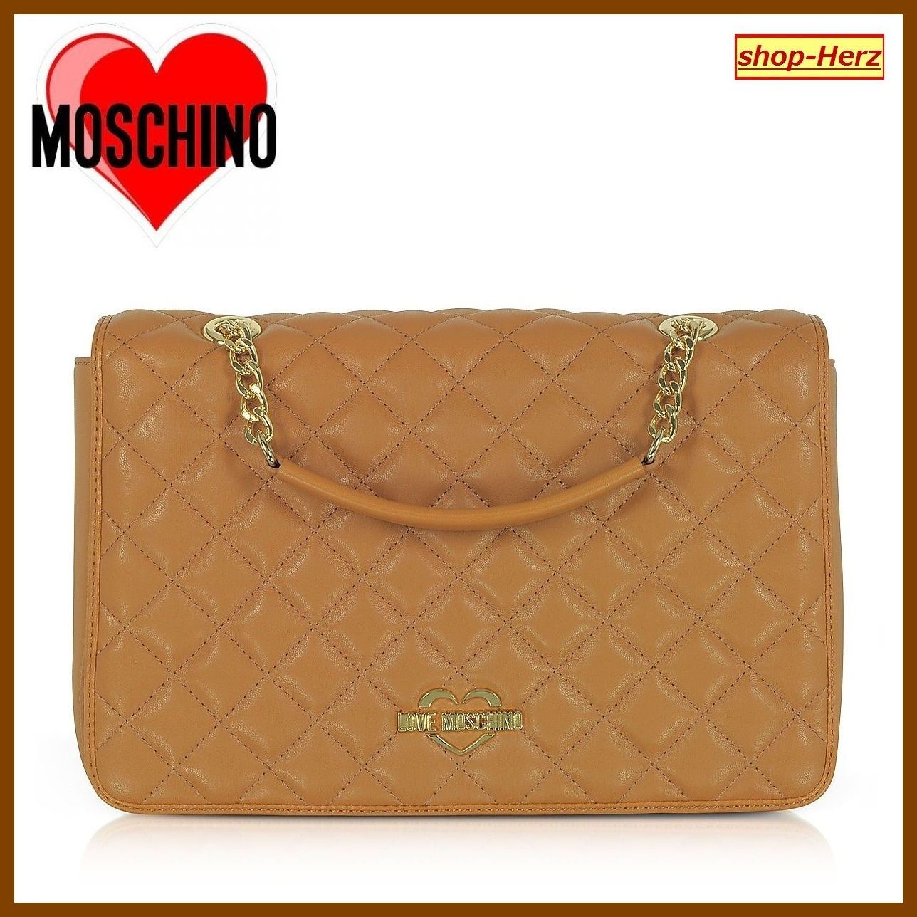 ★Love Moschino★ Cognac Quilted Eco ショルダーバッグ 関税込