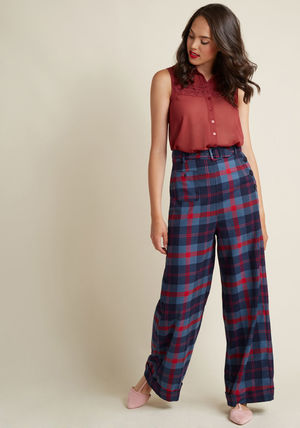 collectif life's work wide leg pants in plaid