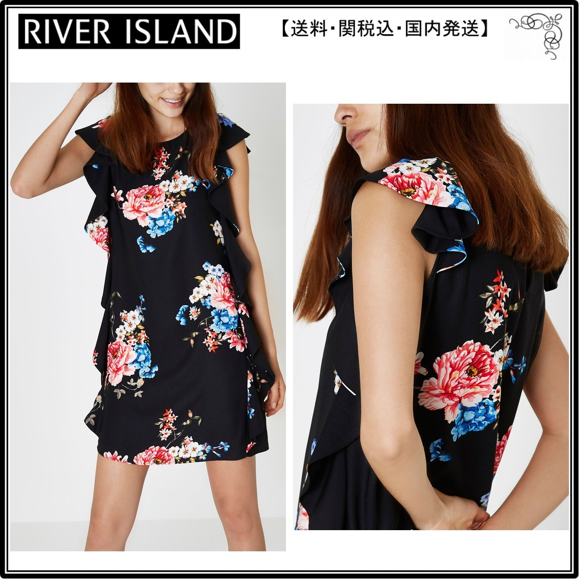【海外限定】RiverIslandワンピ☆Black floral frill sleeveless