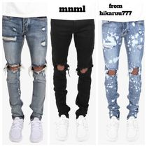 送料込 新作 MNML M1 STRETCH DENIM blue black splash 裾ジップ