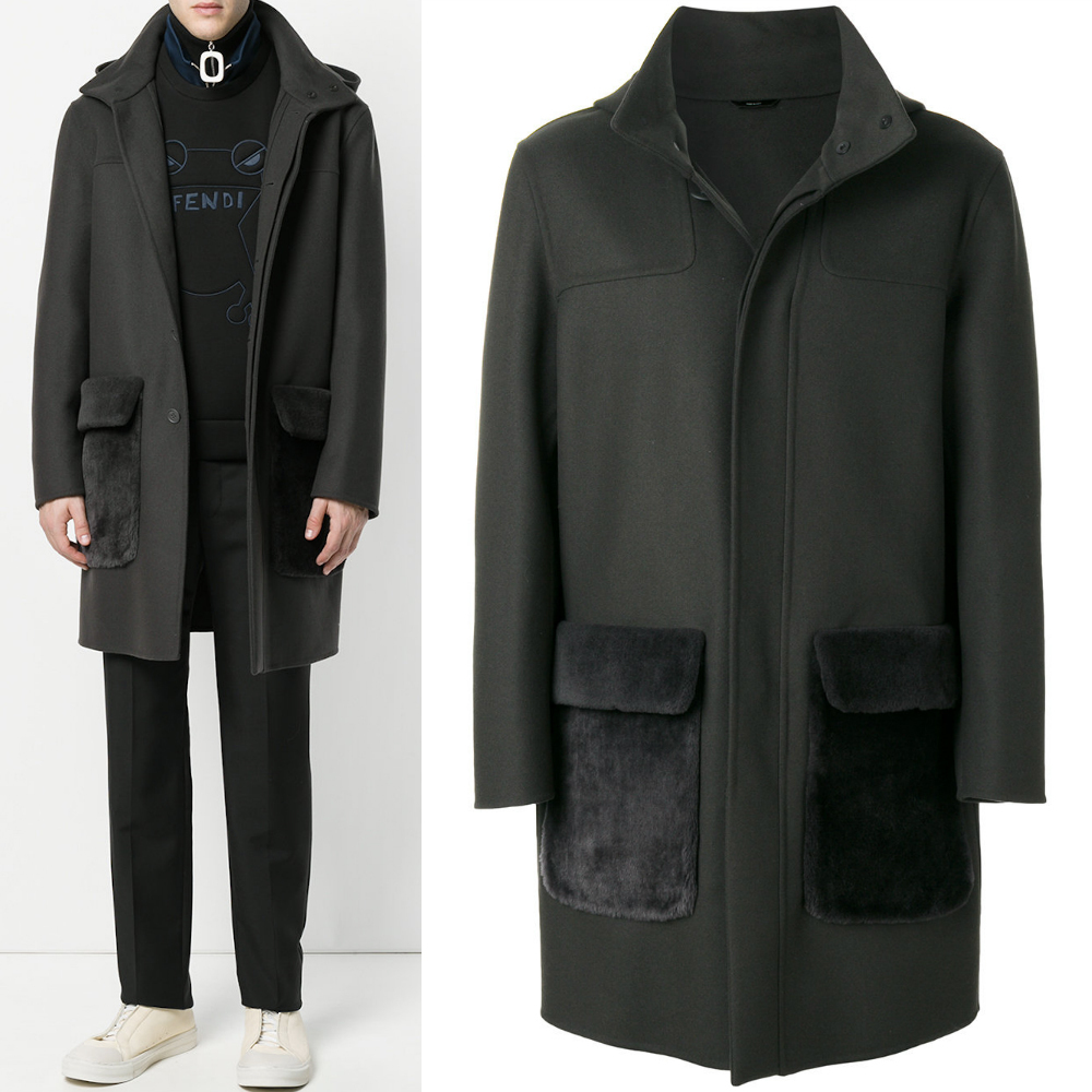 FE1749 CASHMERE BLEND WOOL HOODED COAT WITH MOUTON POCKET