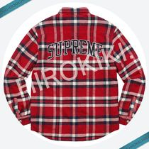 【17AW】Supreme Quilted Arc Logo Flannel Shirt ネルシャツ 赤