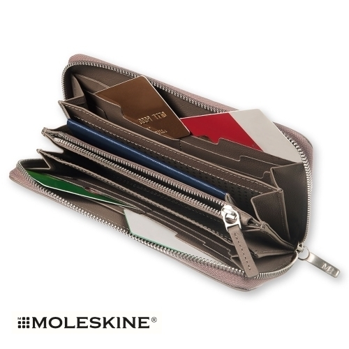 【MOLESKINE(モレスキン)】LEATHER LINEAGE ZIP WALLET - GREY