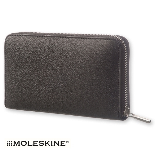 【MOLESKINE(モレスキン)】LEATHER LINEAGE ZIP WALLET - BLACK
