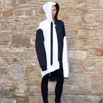 MARQUES ALMEIDA ASYMMETRIC FLEECE HOODIE WHITE/BLACK