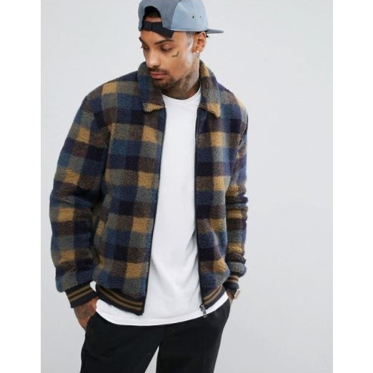 ASOS Borg Bomber Jacket In Blue Check with Contrast Rib♪