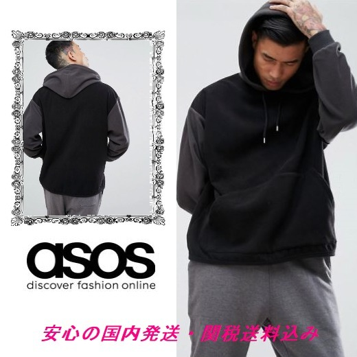 ASOS Oversized Fleece Hoodie With Contrast Sleeves♪