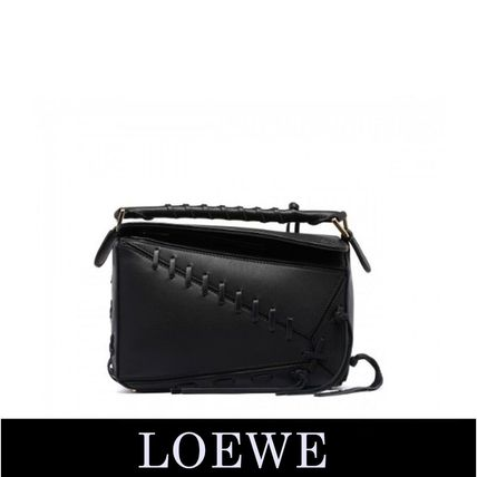 LOEWE Puzzle Laced Small Black Bag