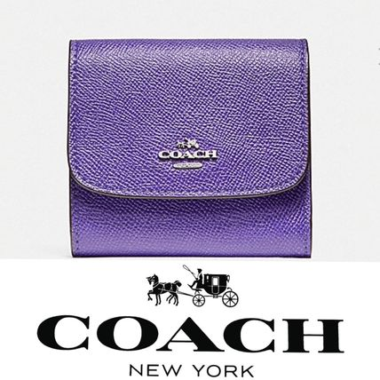 Coach Small Wallet In Crossgrain Leather パープル 関税送料込