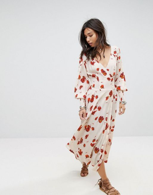 送料関税込 Free People So Sweetly Autumn Midi Dress ワンピ