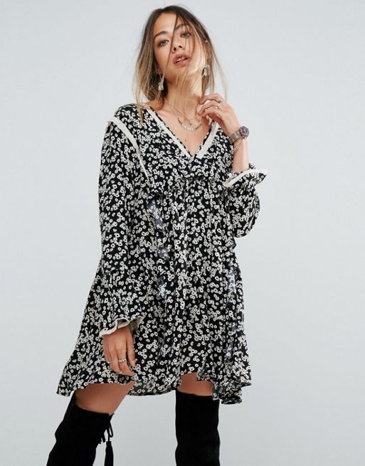 送料関税込 Free People Disty Print Frill Mini Dress ワンピ