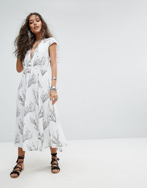 送料関税込 Free People Printed Retro Midi Dress ワンピ